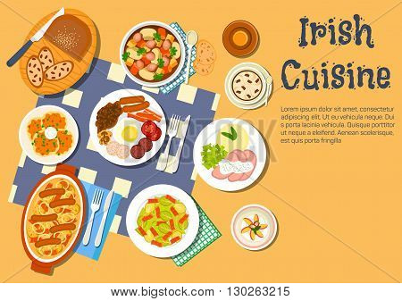 Nourishing and comfort irish food flat icon with potato pancakes boxty and irish stew coddle, full breakfast with beer, brussels sprouts bacon salad and corned beef with mashed potato, lamb stew and coffee with raisin bread and strawberry dessert