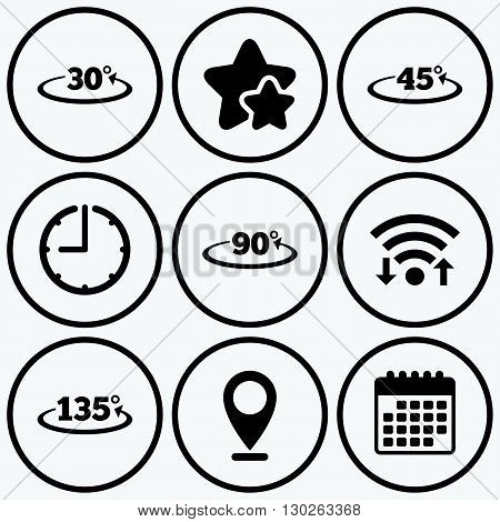 Clock, wifi and stars icons. Angle 30-135 degrees icons. Geometry math signs symbols. Full complete rotation arrow. Calendar symbol.