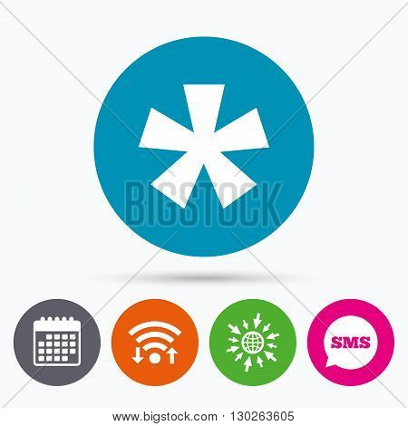 Wifi, Sms and calendar icons. Asterisk footnote sign icon. Star note symbol for more information. Go to web globe.