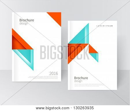 Brochure, leaflet, report, flyer, cover template Modern Geometric Abstract background blue & red triangles. diagonal vertical composition minimalistic design concept/ vector-stock illustration 10 EPS