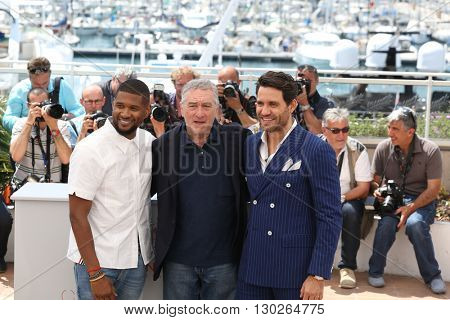 Usher, Robert De Niro, Edgar Ramirez  at the photocall for Hands Of Stone at the 69th Festival de Cannes.