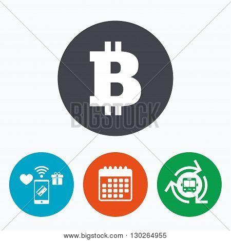 Bitcoin sign icon. Cryptography currency symbol. P2P. Mobile payments, calendar and wifi icons. Bus shuttle.