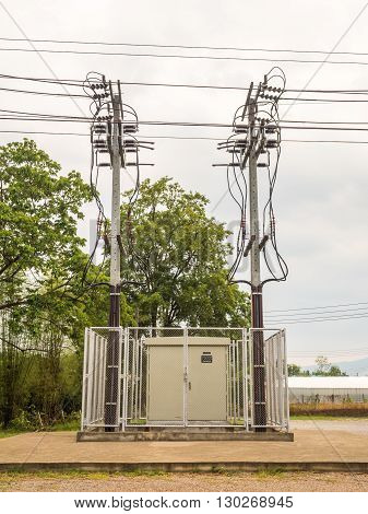 Dangerous Electricity Substation and Twin High Voltage Pole