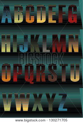 Striped spectral font. Unusual alphabet. Vintage style