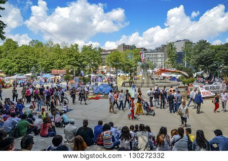 Istanbul Turkey - June 9 2013: A wave of demonstrations and civil unrest in Turkey began on 28 May 2013 to contest the urban development plan for Istanbul's Taksim Gezi Park. The protests were sparked by outrage at the violent eviction of a sit-ins
