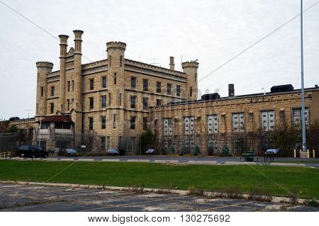 JOLIET, ILLINOIS / UNITED STATES - MAY 3, 2015: The old Illinois State Penitentiary, now vacant and abandoned.