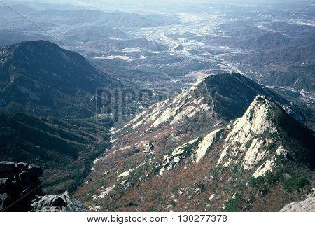 A view from Bukhansan Mountain, on the periphery of Seoul, Korea, circa 1987.