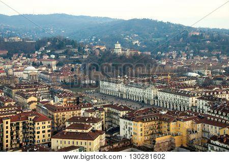 aerial view Turin italy vittorio veneto monte cappuccini santa madre church