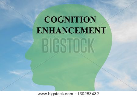 """Render illustration of """"COGNITION ENHANCEMENT"""" script on head silhouette with cloudy sky as a background. Human mind concept. poster"""