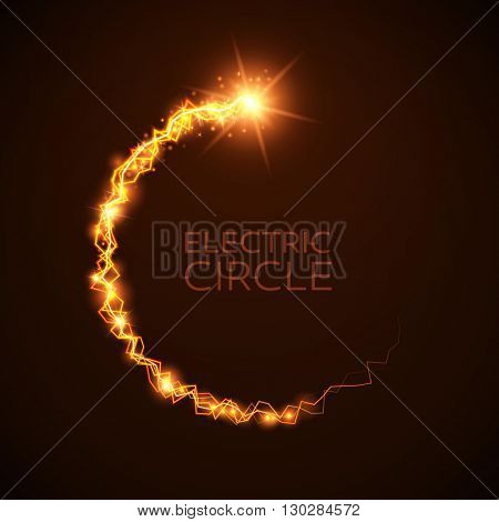 Vector yellow electric circle. Magic effect illustration. Bright light bolts and stars on dark background