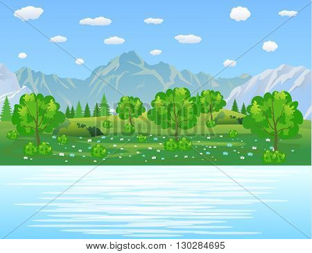 Summer landscape with meadows and mountains. River and the forest, nature landscape, vector background. vector illustration in flat design