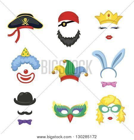 Photobooth Birthday and Party Set - glasses, hats, crowns, masks, lips, mustaches and clown