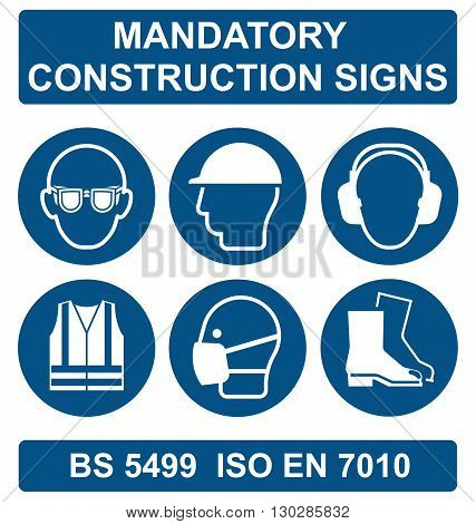 Mandatory construction manufacturing and engineering health and safety signs to British standard 5499 ISO EN 7010 isolated on white background