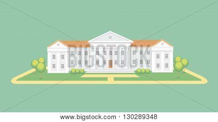 University or college building. High school. Campus graduation university, Education illustration