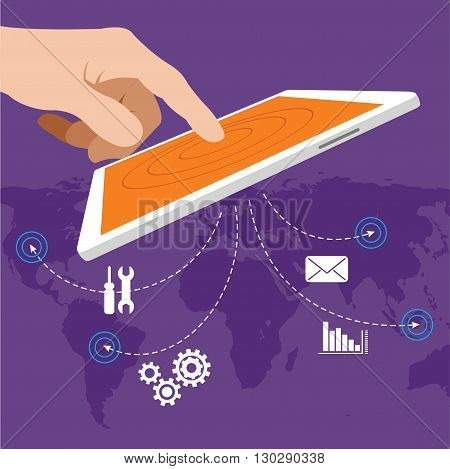 erp enterprise resource planning vector with tab concept