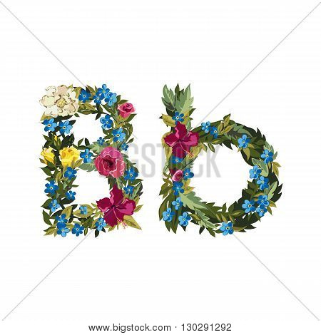 B letter. Flower capital alphabet. Colorful font. Uppercase and lowercase. Vector illustration. Grotesque style. Floral alphabet.