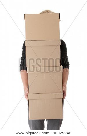 Man with stacked Boxes,isolated on white