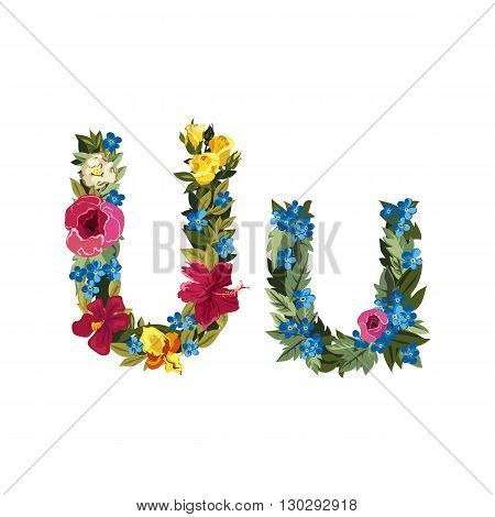 U letter. Flower capital alphabet. Colorful font. Uppercase and lowercase. Vector illustration. Grotesque style. Floral alphabet.