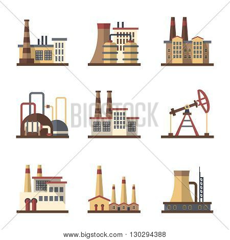 Factory industrial building and manufacturing plants vector flat icons. Factory building and plant industry construction, industrial and manufacturing factory illustration