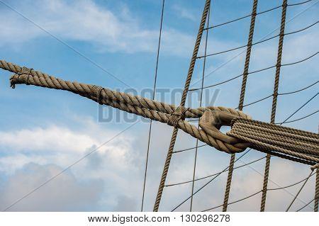 Sail Ship Shrouds Detail On Sky