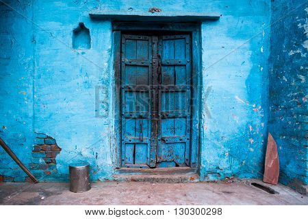 Blue painted traditional house in Agra India