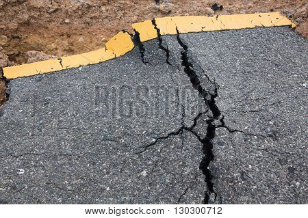 Crack of asphalt road after the storm