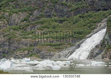Juneau Mendenhall Glacier Waterfall