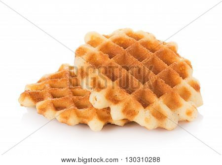 Closeup waffles isolated on white background. waffles