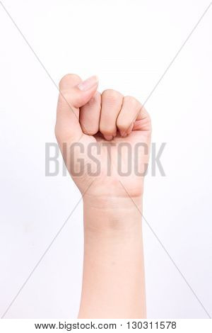 finger hand symbols concept fists handful strong fighting and Zero point isolated on white background