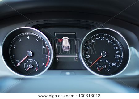Modern Dashboard Of A Car With A High Mileage Close Up