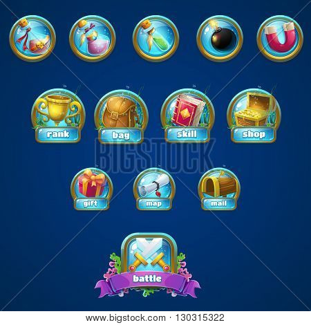 Set of different buttons boosters. Vector background illustration screen to the computer game. Bright background image to create original video or web games graphic design screen savers.