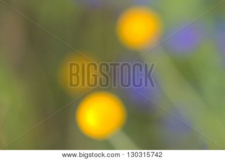 Abstract Fower Painting Background Yellow And Green