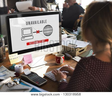Unavailable Denied Disconnected Error Problem Concept poster