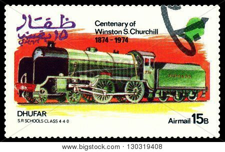 STAVROPOL RUSSIA - MARCH 30 2016: A Stamp printed in the Dhufar shows Old steam locomotive S.R. Schools class 4-4-0 stamp devoted to the Centenary of Winston S. Churchill circa 1974