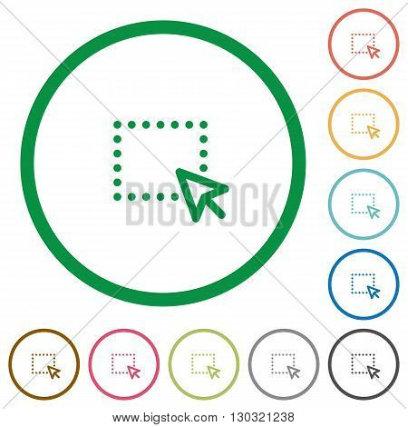 Set of drag color round outlined flat icons on white background