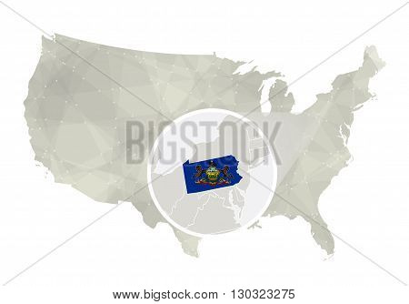 Polygonal Abstract Usa Map With Magnified Pennsylvania State.