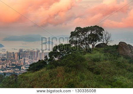 Hazy Hong Kong city skyline,an aerial view from Kowloon peak