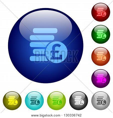 Set of color pound coins glass web buttons.