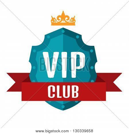 VIP club logo in flat style. Stock vector. Vector illustration.