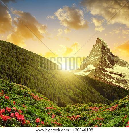 Mountain landscape with mount Matterhorn in the sunset - Pennine alps, Switzerland.