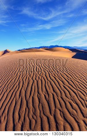 Mesquite Flat Sand Dunes. Bright solar morning in picturesque part of Death Valley. Thin waves on sand