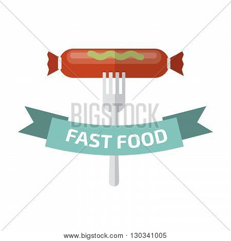 Fast food logo. Junk food logo. Stock vector. Vector illustration.