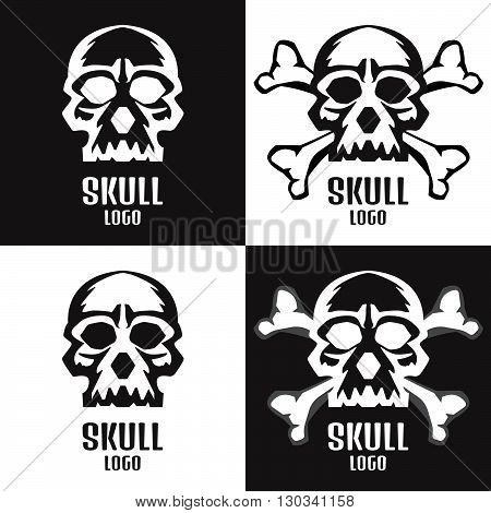 Skull Logo Set. Human Skulls Set