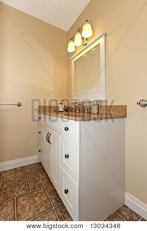 White Cabinet With Sink In Bathroom