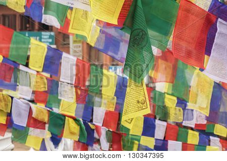 Garlands of colorful buddhist prayer flags in Nepal