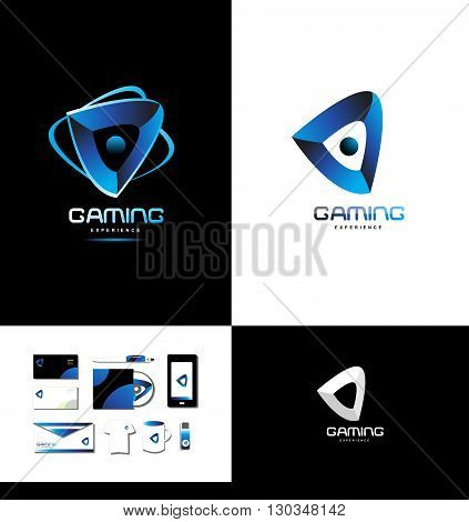 Vector company logo icon element template games gaming playing abstract blue
