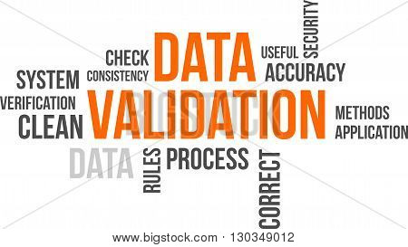 A word cloud of data validation related items
