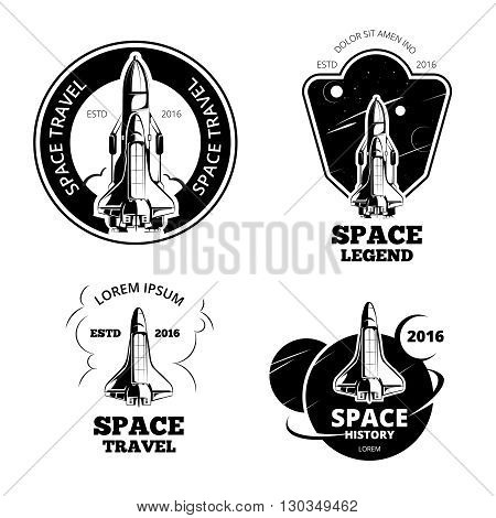 Space astronaut badges, emblems and logos vector set. Space label ship, space ship logo, space ship emblem, launch space ship vector illustration