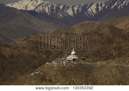 The Shanti Stupa in twilight time in Leh Ladakh,India