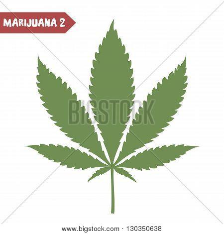 Marijuana leaf. Medical cannabis leaf isolated on white. Graphic design element for web prints t-shirt. Vector illustration.